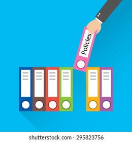 Flat design style modern vector illustration. Folder with the label Policies