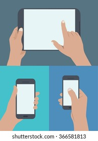 Flat design style modern vector illustration. set of hands holding digital tablet and mobile phone with blank screen in many hand position and many action. modern and nice color.