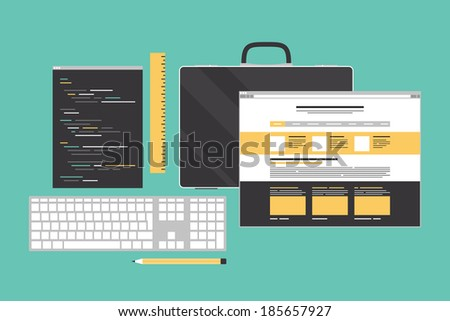 Flat design style modern vector illustration icons set of web page programming, website user interface elements and programming workflow objects. Isolated on stylish color background