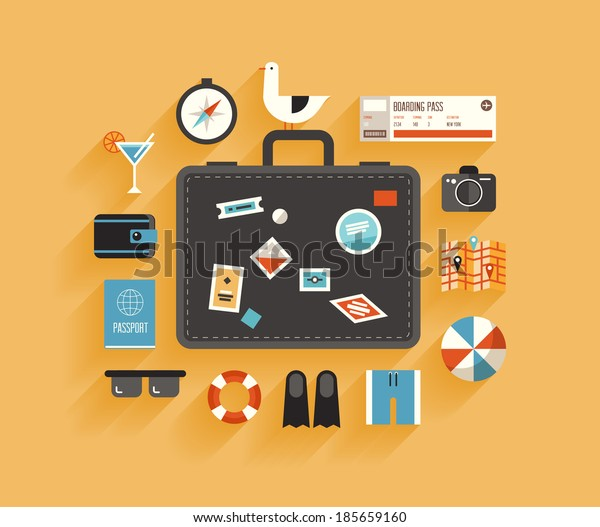 Flat design style modern vector illustration icons set of planning a summer vacation, travelling on holiday journey, tourism and travel objects, passenger luggage. Isolated on stylish color background