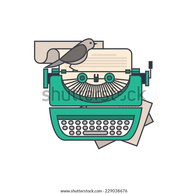 Flat design style modern vector illustration concept of a manual vintage stylish typewriter with a paper list. Isolated on white background for your design