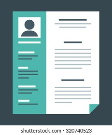 Flat design style professional resume, vector illustration