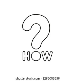 Flat design style vector illustration concept of how text with question mark symbol icon on white background. Black outlines.