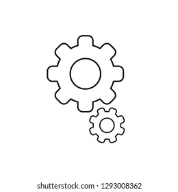 Flat design style vector illustration of gears symbol icon on white background. Black outlines.