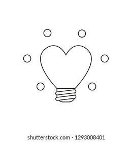 Flat design style vector illustration concept of glowing yellow heart-shaped light bulb symbol icon on white background. Black outlines.