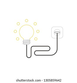 Flat design style vector illustration concept of light bulb with wire plugged into outlet on white background. White and colored outlines.