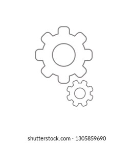 Flat design style vector illustration of gears symbol icon on white background. White and colored outlines.