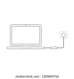 Flat design style vector illustration concept of laptop computer symbol icon charging with charger, pulg and outlet on white background. White and colored outlines.