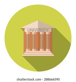 Flat design style vector illustration concept for University building education icon with long shadow.