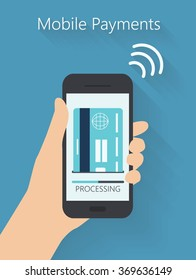 Flat design style vector illustration of human hand holding modern smartphone with the processing of mobile payments from credit card on the screen. Near field communication technology concept.