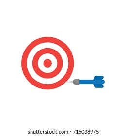 Flat design style vector illustration concept of red and white bullseye with blue dart icon in the side on white background.