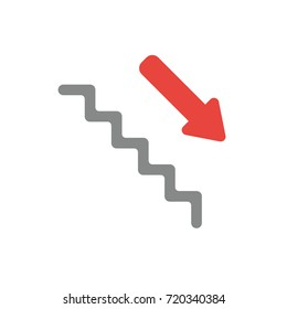 Flat Design Style Vector Illustration Concept Of Grey Stairs With Red Arrow  Symbol Icon Pointing Down