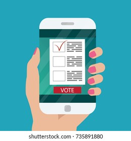Flat design style. Vector illustration. Hand holding smartphone with voting app on the screen. Concept of election.