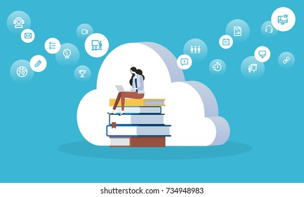 Flat design style web banner for education cloud, distance education and training, digital library. Vector illustration concept for web design, marketing, and print material.