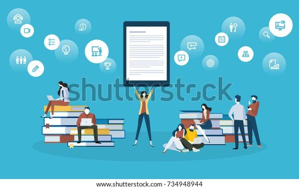 オンライン学習、教育アプリ、ebook、オンライントレーニングコース、チュートリアル用のフラットデザインスタイルウェブバナー。ウェブデザイン、マーケティング、印刷資料のベクターイラストコンセプト。