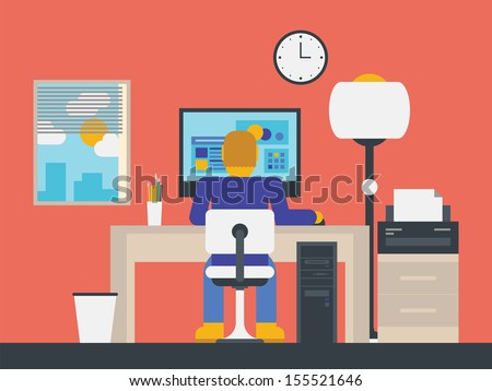 Flat design stylish vector illustration of manager working with computer in modern office workspace.