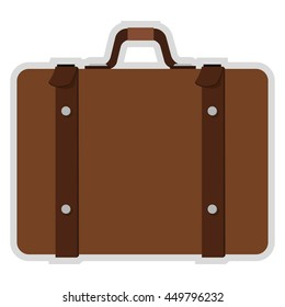flat design suitcase with handle icon vector illustration