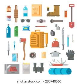 Flat design of suvivals kit set illustration vector