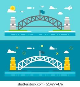 Flat design Sydney harbour bridge illustration vector