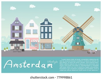 Flat design symbol of Amsterdam city with building, flower shop, cafe and wild mill. Vector illustration.