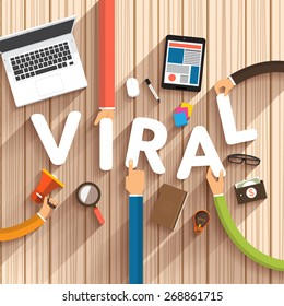 "Flat design talking about digital marketing as text ""Viral"" on desktop.Vector Illustration"