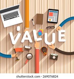 "Flat design talking about digital marketing as text ""Value"" on desktop.Vector Illustration"