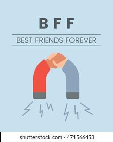 Flat design template illustration of relationship and best friends forever concept. Vintage colors and modern design