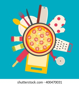 Flat design theme of cooking pizza. Kitchenware tools.