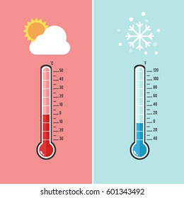 Flat design of Thermometer measuring heat and cold, with sun and snowflake icons, vector illustration.