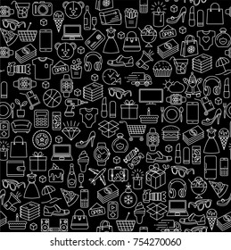 Flat  design thin line icon shopping black friday sale vector seamless pattern tile background texture.