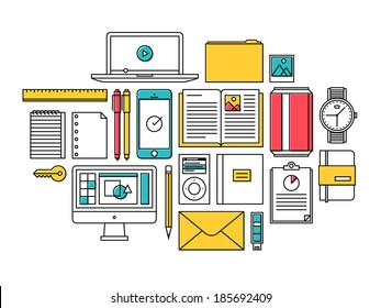 Flat design thin line icons set modern style vector illustration of trendy everyday objects, office supplies and business items for daily usage, designer workflow equipment and desk elements.