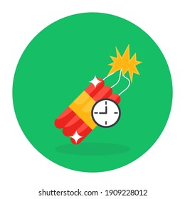 Flat design of time bomb icon