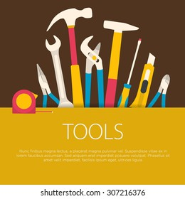 Flat design tools concept.  Vector illustration.