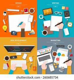 Flat design top view on desk concept Design, Writing, Web Development, Marketing. Vector illustrate for flexible design banner.