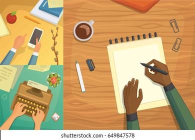 Flat design top view on desk concept Design, Writing on letter. Workplace with typewriter. Flat design. blogging illustration.