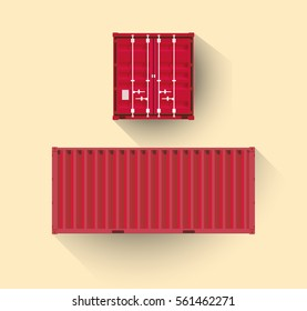 Flat design transport container from a side and front, editable illustration, stock vector