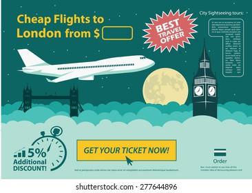 Flat design travel banner - London UK - vector illustration