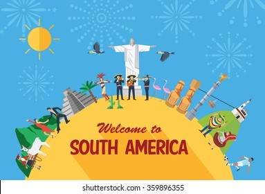 Flat design travel concept, South America icons and landmarks.