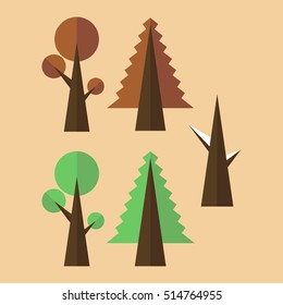 Flat design trees on a colored background, great for website`s, flyer's, logo`s, business cards.