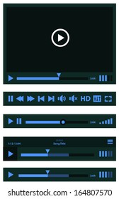 Flat design trend Media Player UI interface with loading bar and additional movie buttons