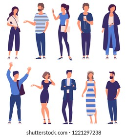 Flat design trendy color vector people set. Different characters, styles and professions, ready to animation  diverse acting poses collection. Varios poses, sitting, standing, handshaking.