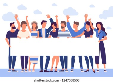Flat design trendy color vector people with blank white banner. Different characters, styles and professions, standing together diverse acting poses collection.