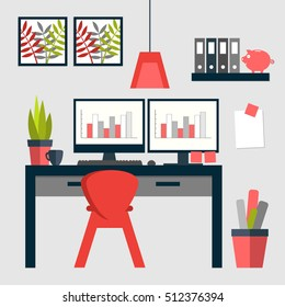 Flat design of trendy home office layout with dual monitors.