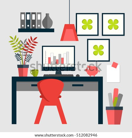 trendy home office. Flat Design Of Trendy Home Office Layout. M