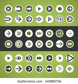 Flat design UI arrow circle button icons set for web, mobile apps and user interface design