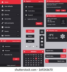 Flat design UI - vertical menu, login, register, dropdown menu, weather, user box, search, buttons, radio, checkbox, calendar and dialog box
