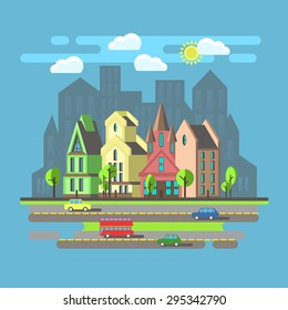 Flat design, urban landscape, day city and building, london, carriageway, vector illustration.