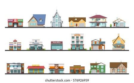 Flat design urban landscape illustration. private houses and offices