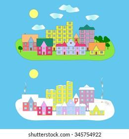 Flat design urban landscape. Summer and winter - vector illustration.