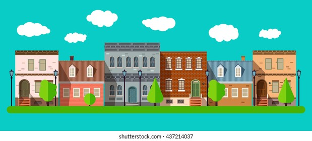 Flat design urban landscape summer in a city illustration. Small cute old style houses in flat style, summer in the city street. Vector illustration EPS 10